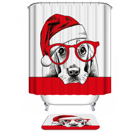 Christmas Red Santa Hat Wearing Glasses Holiday Dog Pet Basset Hound Shower Curtain