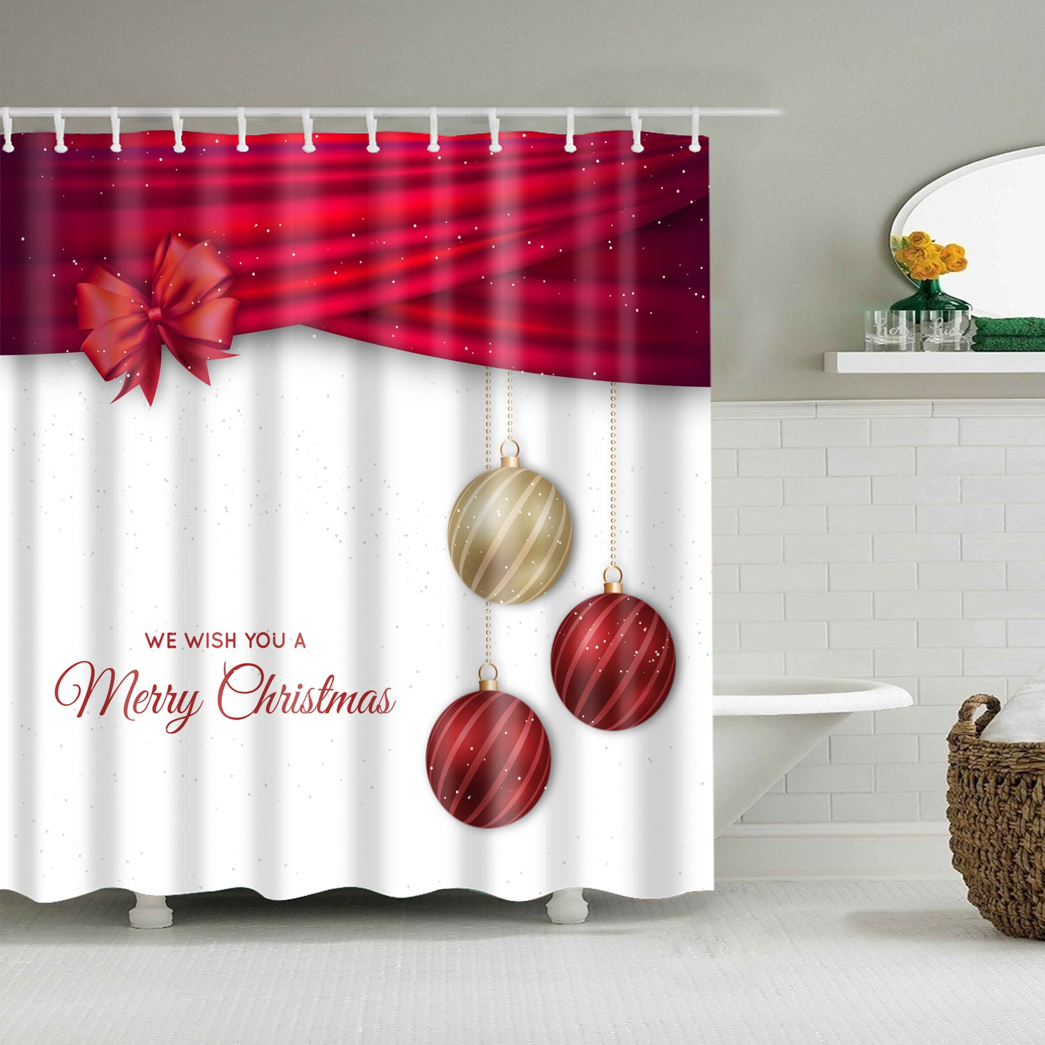 Christmas Drapery Ornaments Greeting Shower Curtain