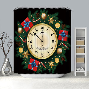 Christmas Ornaments Golden Clock with Gifts Shower Curtain