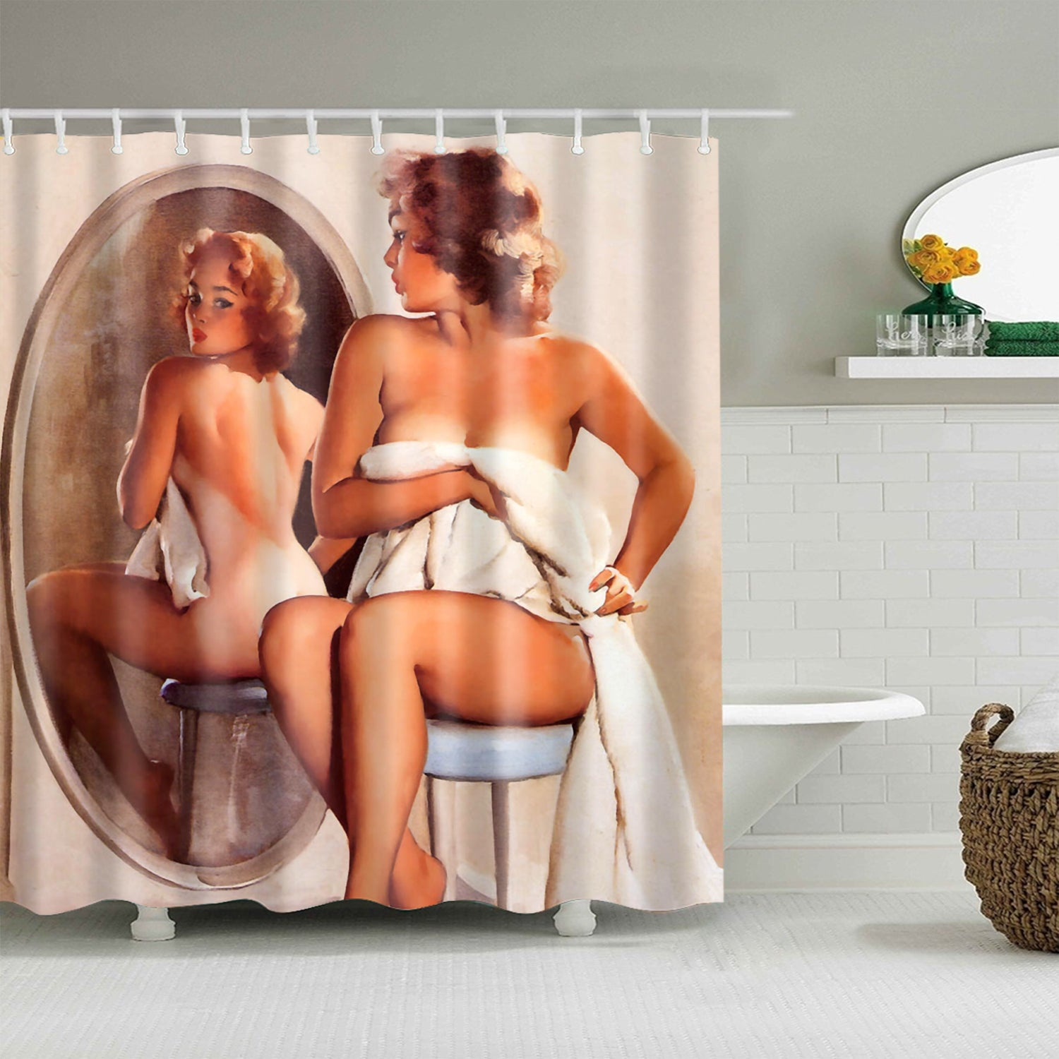 Classic Pinup Girl Looking Mirror Out Bathing Shower Curtain