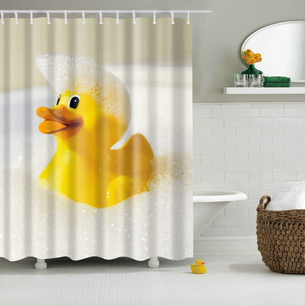 Classic Rubber Duck Bathing Shower Curtain