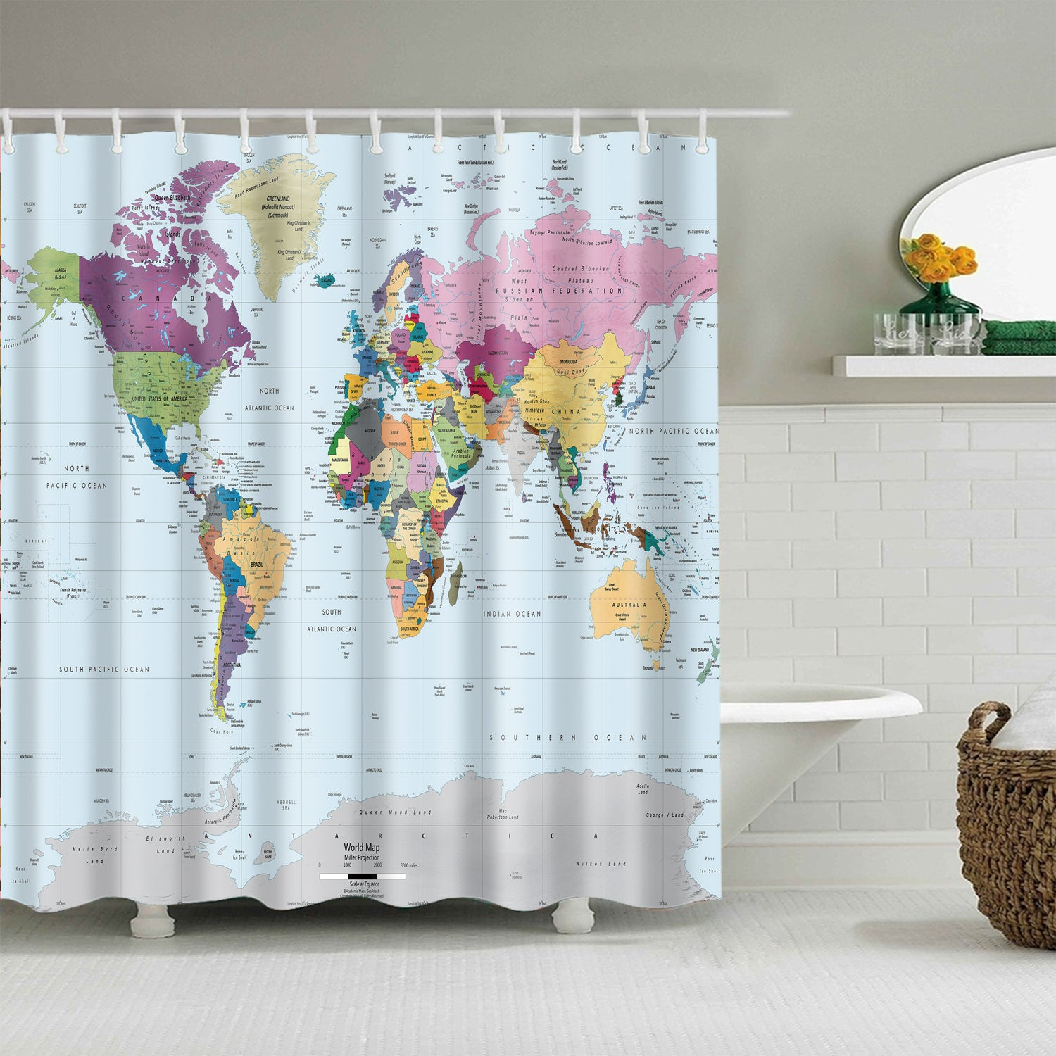 Clear Colorful World Map Shower Curtain