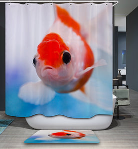 Clear Real Cute Goldfish Shower Curtain
