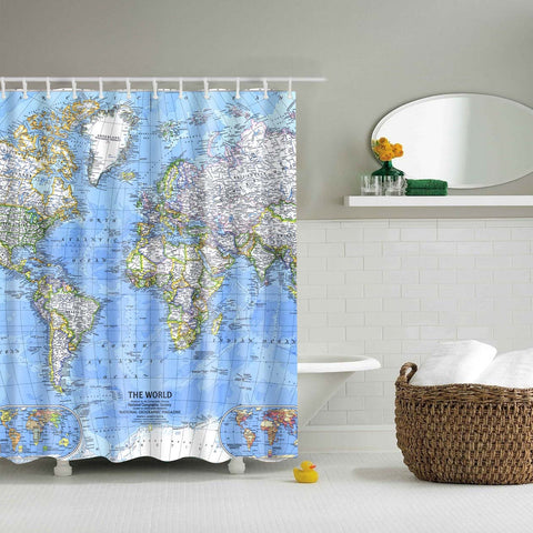 Clear World Map Shower Curtain | GoJeek