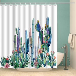Clear and Nature Saguaro Cactus Shower Curtain