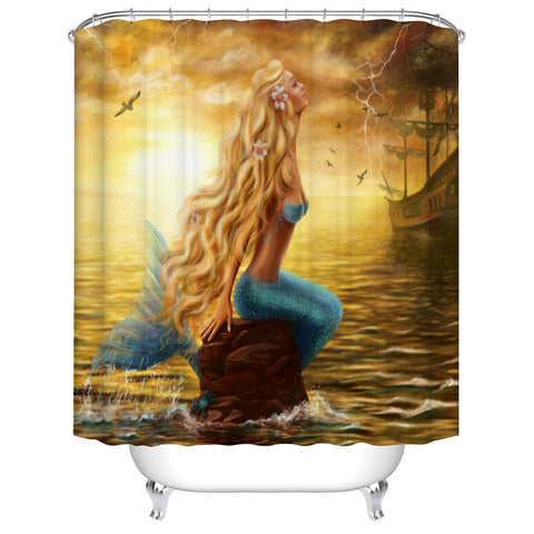 Coastal Sunset Ancient Girly Golden Hair Pirate Ship with Mermaid Shower Curtain