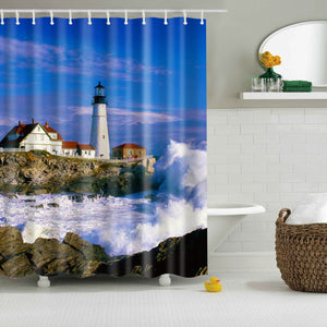 Coastal Nautical Lighthouse Shower Curtain