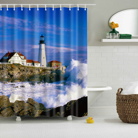 Coastal Nautical Lighthouse Shower Vorhang | GoJeek