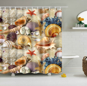 Coastal Seashell Fabric Shower Curtain | GoJeek