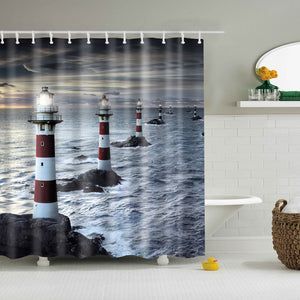 Coastal lighthouse Tower Shower Curtain