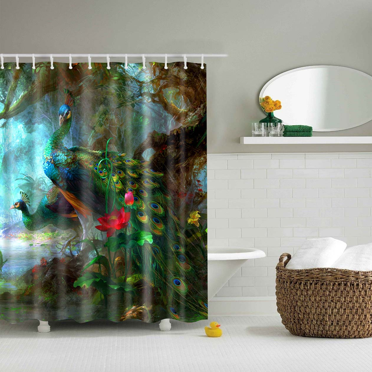 Colored Peacock Green Fabric Shower Curtain