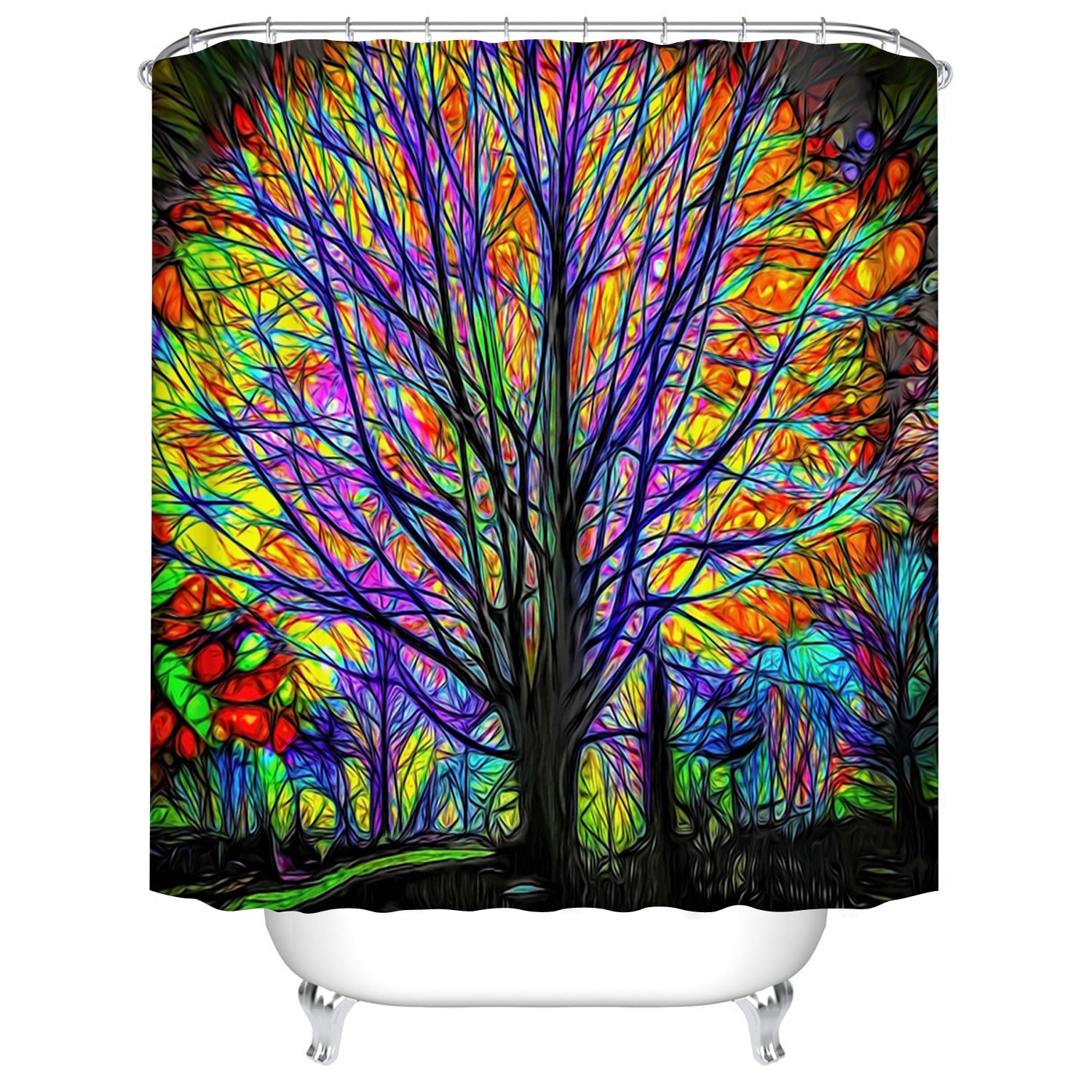 Colorful Oil Painting Art Tree of Life Shower Curtain