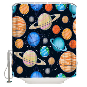 Colorful Planet in Universe Solar System Shower Curtain