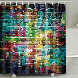 Colorful Splash Graffiti Brick Wall Shower Curtain