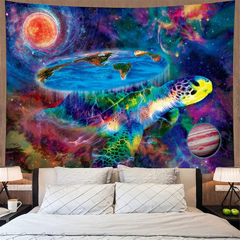 Colorful Universe Abstract Sea Turtle Galaxy Art Tapestry