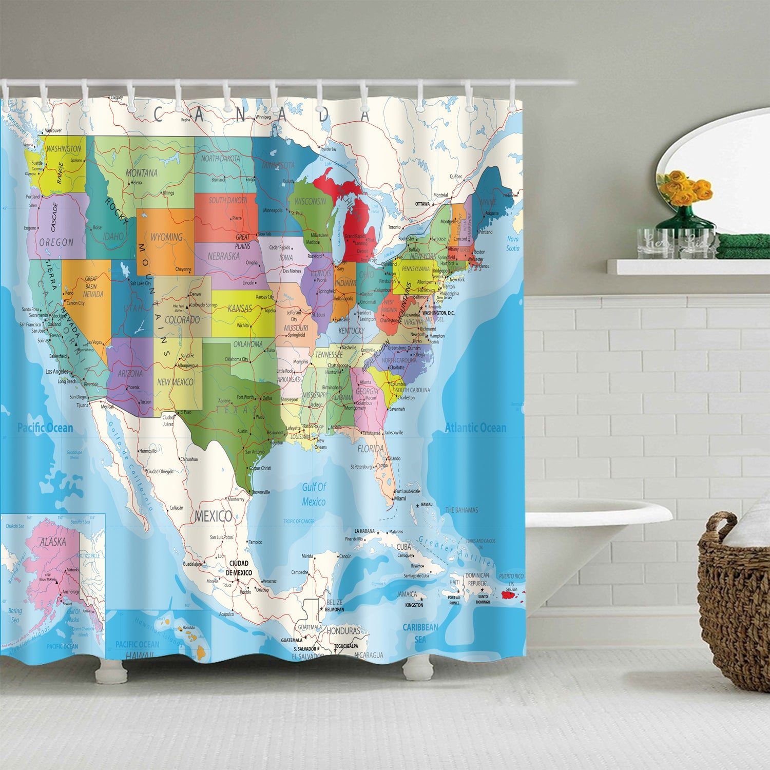 Us Map Shower Curtain Colorful American United States Map Shower Curtain Bathroom Decor