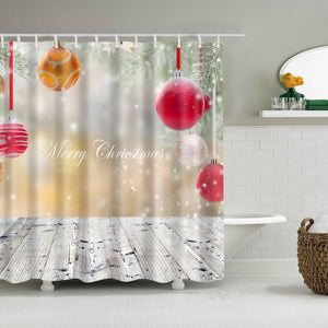Colorful Christmas Bubbles Outside Shower Curtain