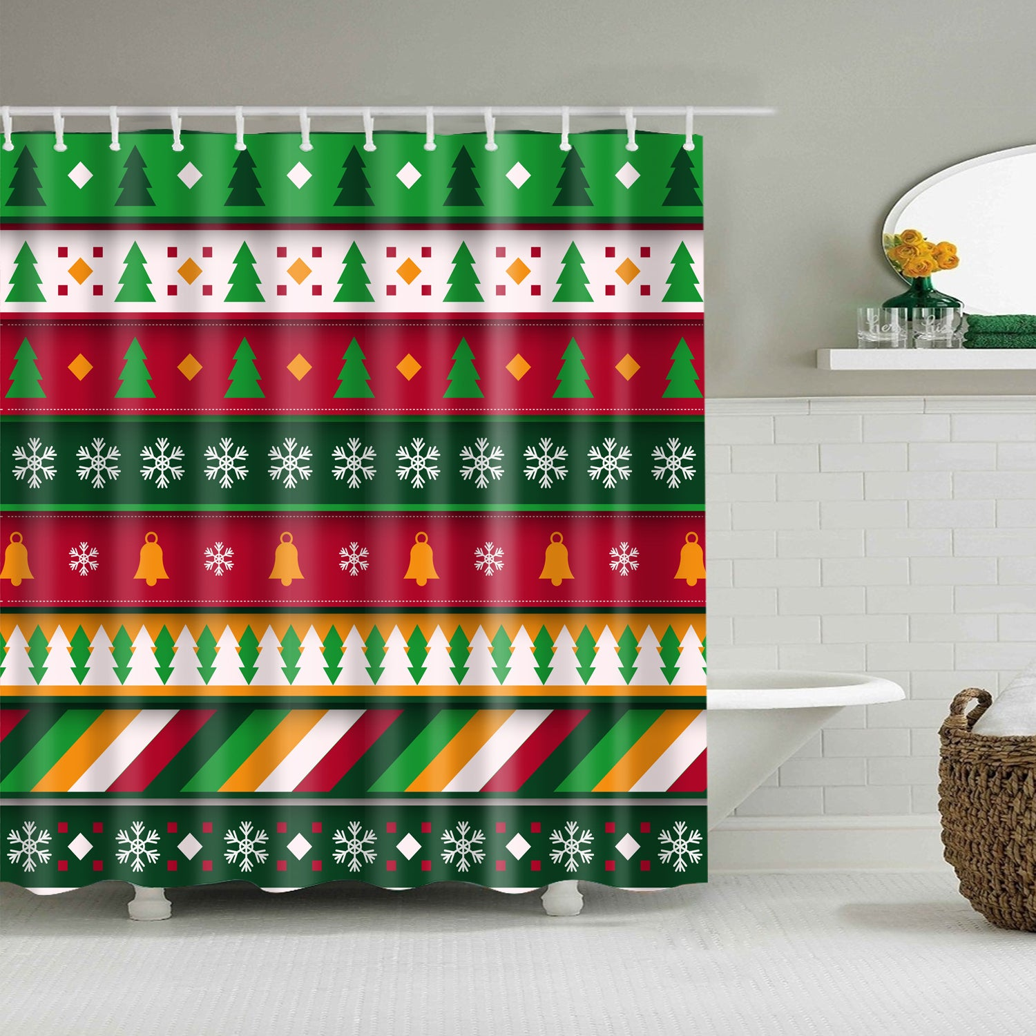 Colorful Christmas Ornament Geometric Shower Curtain