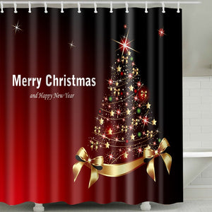 Colorful Christmas Stars with Ribbon Shower Curtain
