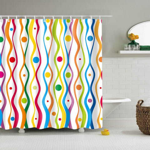 Colorful Curve Lines Shower Curtain