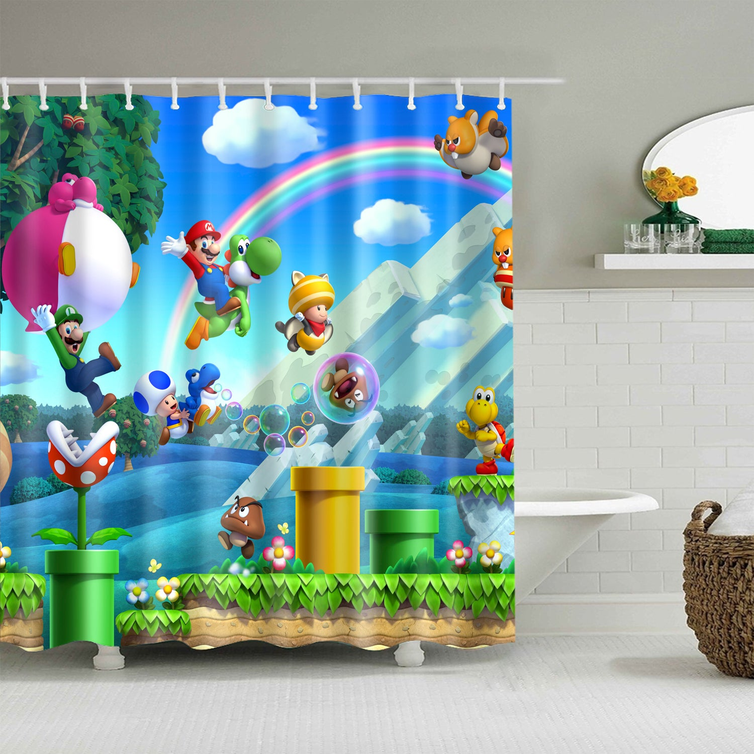 Colorful Design Super Mario Shower Curtain