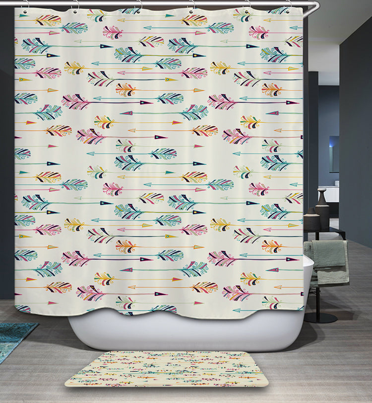 Colorful Feather Arrow Shower Curtain