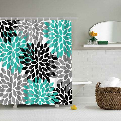 Colorful Flora Design Shower Curtain | GoJeek