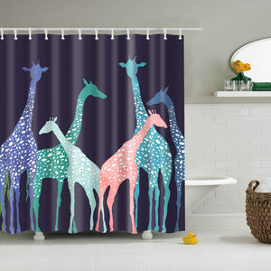 Colorful Giraffe Header Illustration Art Shower Curtain | GoJeek