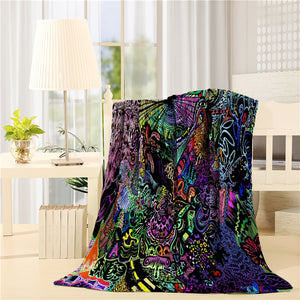 Colorful Hippie Art Trippy Throw Blankets