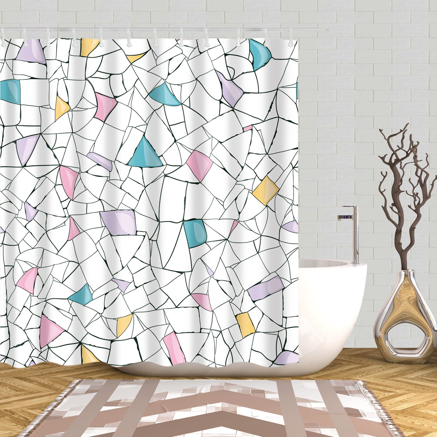 Colorful Irregular Art Lines Blocks Shower Curtain