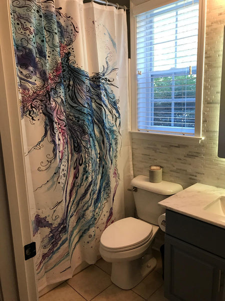 Colorful Jellyfish Oil Painting Shower Curtain