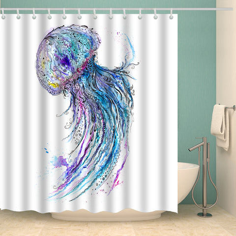 Colorful Jellyfish Oil Painting Shower Curtain | GoJeek