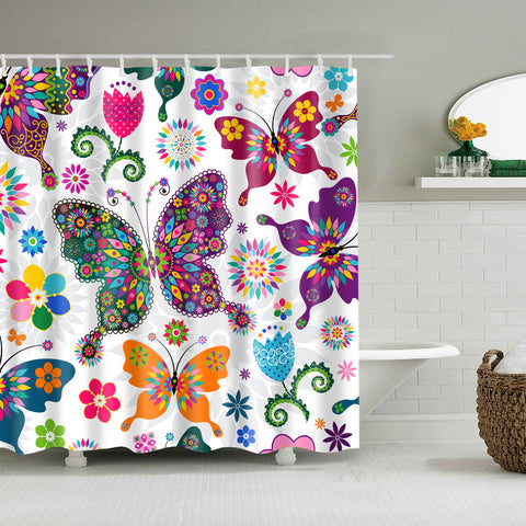 Colorful Monarch Kaleidoscope Butterfly Shower Curtain