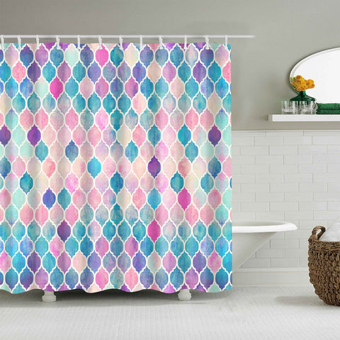 Colorful Mosaic Geometric Fish Mermaid Scale Shower Curtain