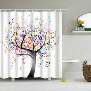 Colorful Music Note Tree Design Shower Curtain