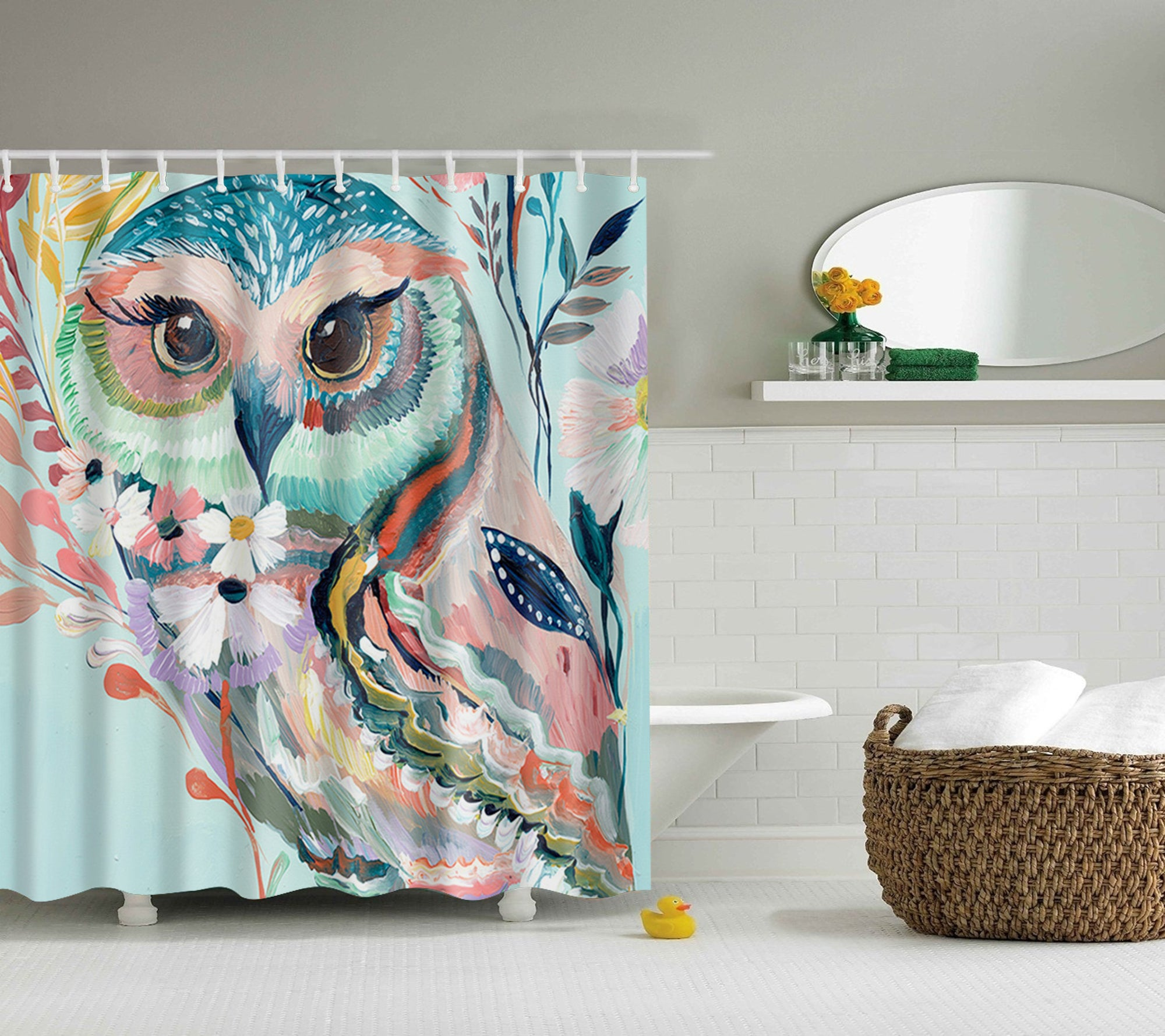 Colorful Oil Painting Owl Shower Curtain | GoJeek