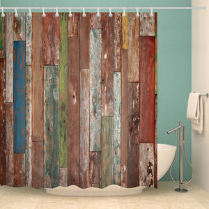 Colorful Old Aged Wood Plank Door Print Shower Curtain