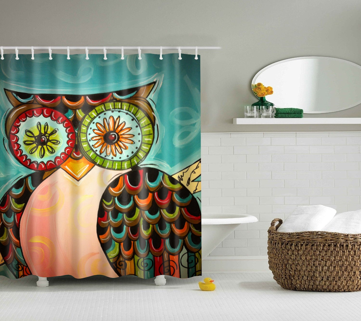 Colorful Owl Painting Art Shower Curtain | GoJeek