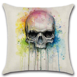 Colorful Painting Skull Head Throw Pillow Cover