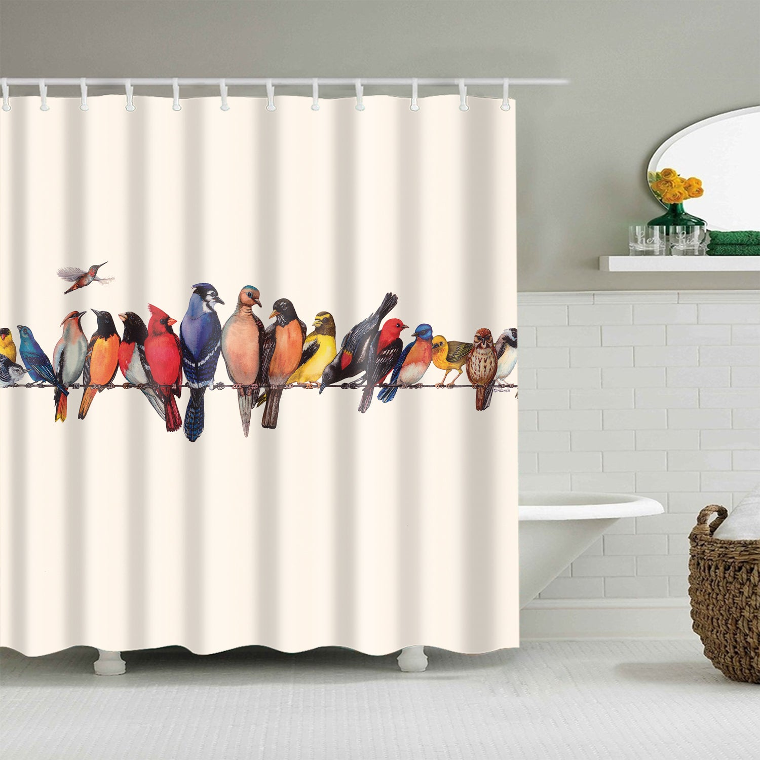 Colorful Perched Cardinal Birds Shower Curtain