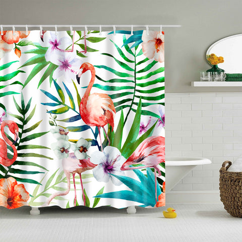 Colorful Plant with Flamingo Shower Curtain