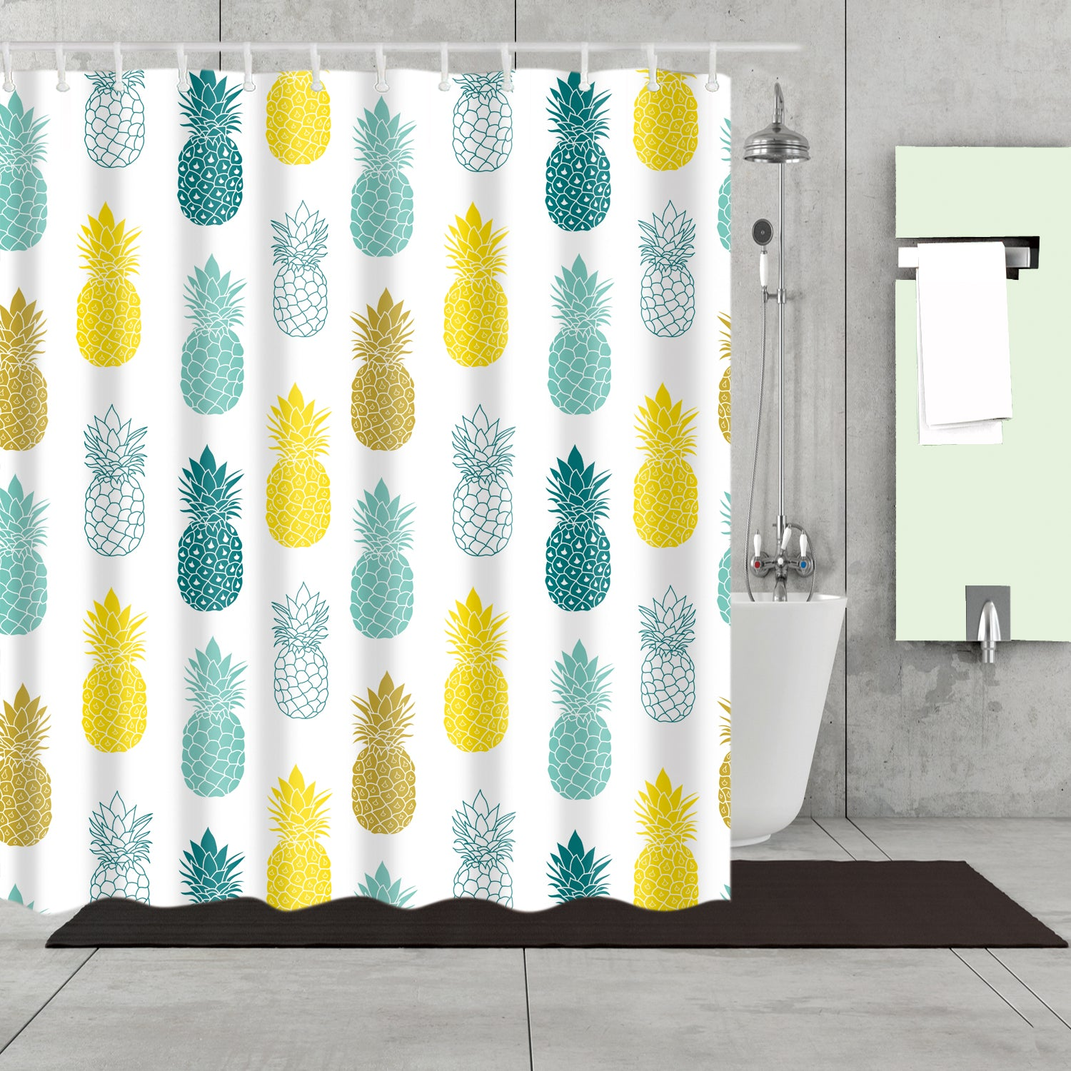 Colorful Seamless Fruit Gold Pineapple Shower Curtain Bathroom Decor