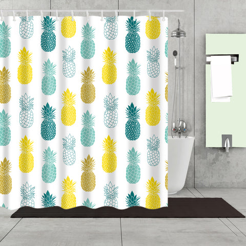 Colorful Seamless Fruit Gold Pineapple Shower Curtain