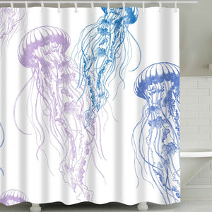 Colorful Sketch Floating Jellyfish Shower Curtain