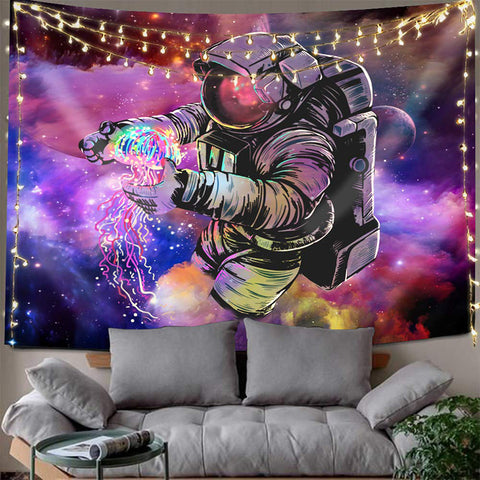 Colorful Spaceman Astronaut Jellyfish Trippy Space Tapestry