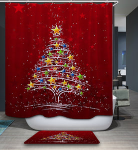 Colorful Star Decorated Christmas Tree Shower Curtain