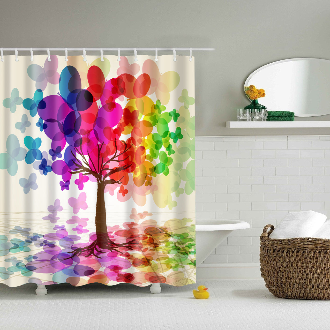 Colorful Tree Painting Shower Curtain