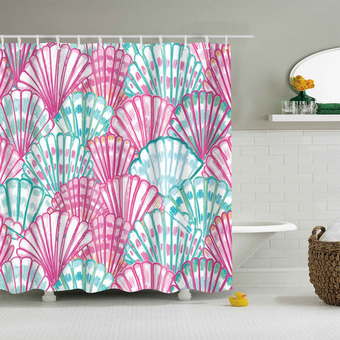 Colorful Tropical Seashell Shower Curtain