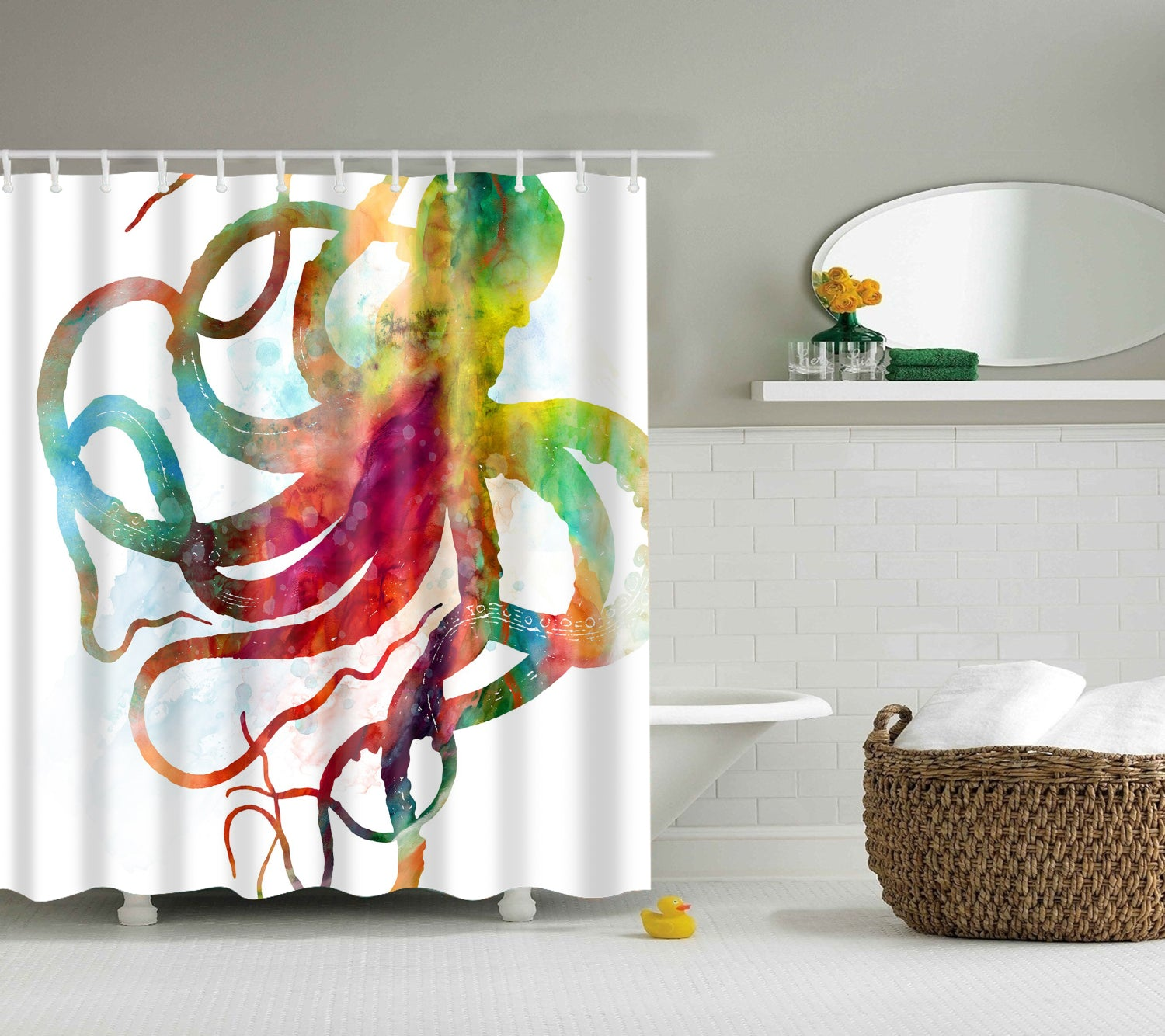 Colorful Watercolor Octopus Shower Curtain