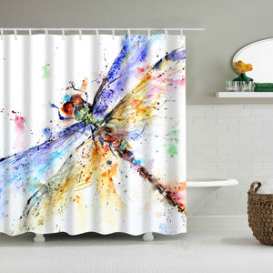 Colorful Watercolor Painting Dragonfly Shower Curtain